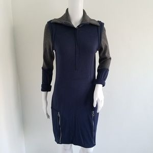 Lacoste Wool Blue Gray Zipper Sweater Dress 42